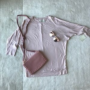 3/4 sleeve top in pale pink color